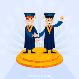 Happy students with flat design celebrating graduation