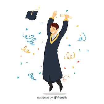 Happy students with flat design celebrating graduation
