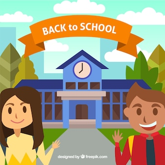Happy students with school background