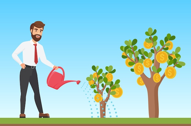 Happy stylish businessman watering a money tree cartoon