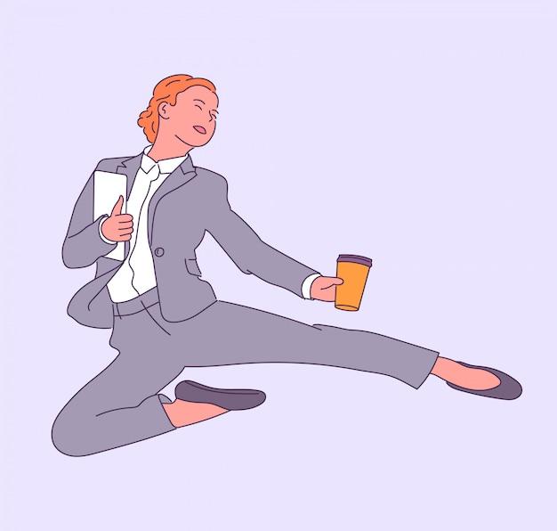 Счастливая успешная деловая женщина прыгает с кофе, наслаждается работой. иллюстрация.