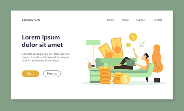 Happy successful freelancer working and earning money at home landing page