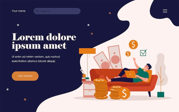 Happy successful freelancer working and earning money at home. vector illustration for freelance, financial success, investment, trades concept