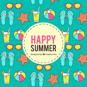 Happy summer background with hand drawn accessories