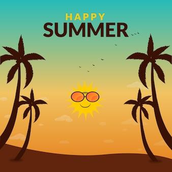 幸せな夏のバナー デザイン テンプレート