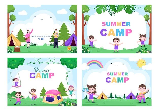 탐험, 여행, 탐험 및 야외 레크리에이션을위한 산 또는 해변의 행복한 여름 캠프.