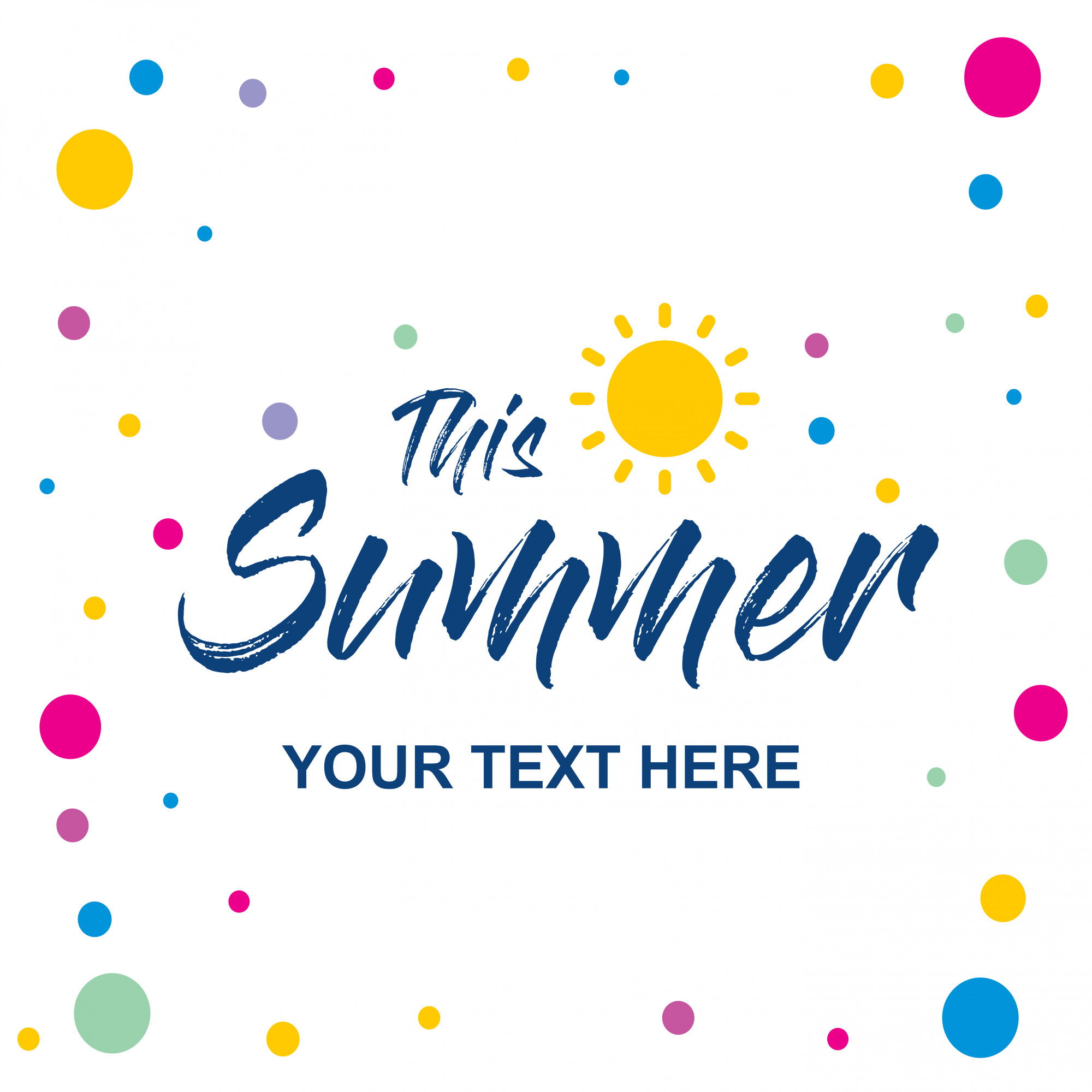 Happy Summer card with light background and unique design