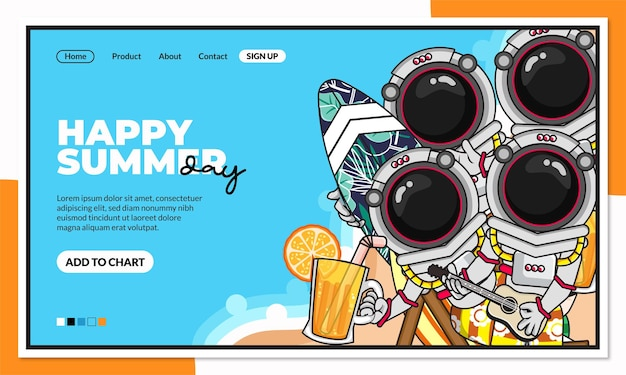 Happy summer day landing page template with cute cartoon character of beach astronaut
