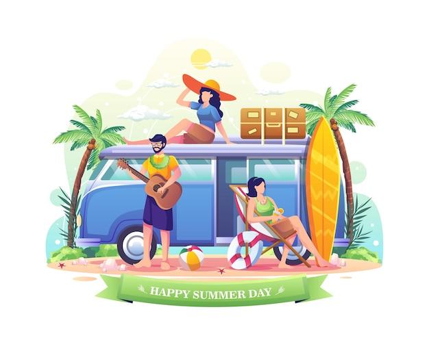 여름 그림 동안 휴가를 즐기는 행복한 여름날 사람들