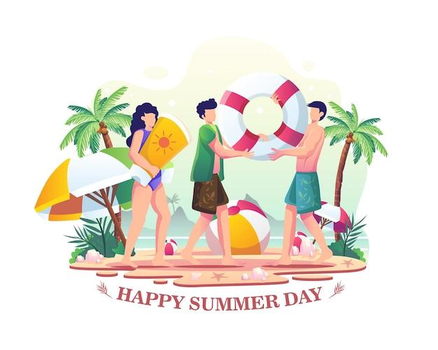 해변 그림에서 여름을 즐기는 행복한 여름날 사람들