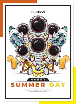 Happy summer day poster template with cute cartoon character of astronaut on the beach