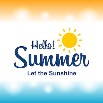 Happy Summer Greetings card with light background vector