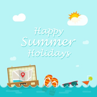 Happy summer holiday vector illustration with traveler things floating on sea waves