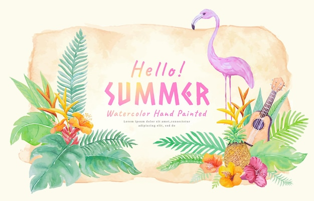 Happy summer holidays concept with decoration botanical,guitar,flamingo watercolor hand painted.