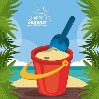 행복 한 여름 방학 포스터입니다. 해변 csand 양동이 삽 손바닥 나뭇잎 프레임