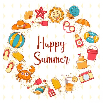 Happy summer icon with lettering backgound