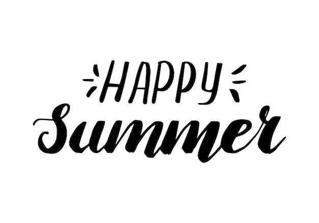 Happy summer lettering hand drawn lettering calligraphy print for poster cup bag shirt package