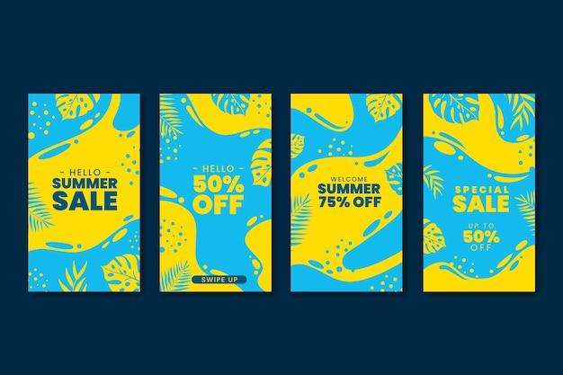Happy summer sale instagram story set
