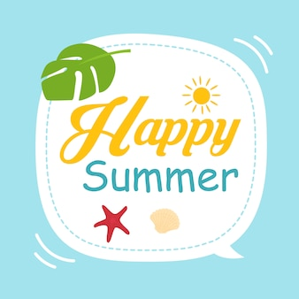 Happy summer themed graphic element