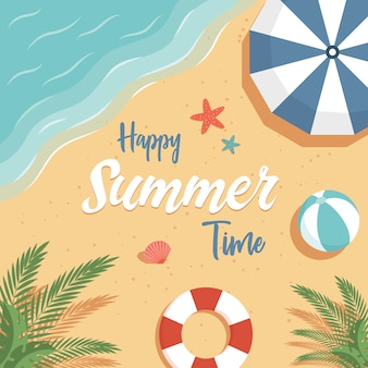 Happy summer time background with text space. summer vacation flat poster concept.