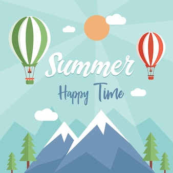 Happy summer time flat background with text space. nature view with air balloons, mountains, and trees.