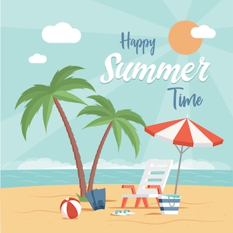 Happy summer time flat poster design with text space. holiday beach party, vacation at the sea template.