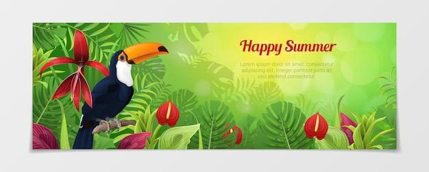 Счастливый летний туристический шаблон. время путешествовать, сайт туристического агентства. природа зяблики птиц завод цветок цвет фона.