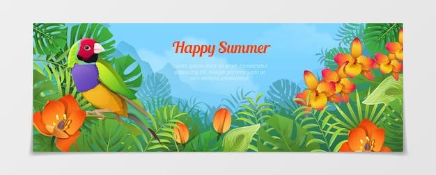 幸せな夏の時間の観光テンプレート。休暇代理店のウェブサイトを旅行する時間。ネイチャーバードフィンチ植物の花の色の背景。
