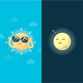행복 한 태양과 달, 낮과 밤 개념, 벡터 일러스트 레이 션.