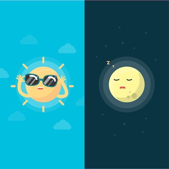Happy sun and moon, day and night concept, vector illustration.