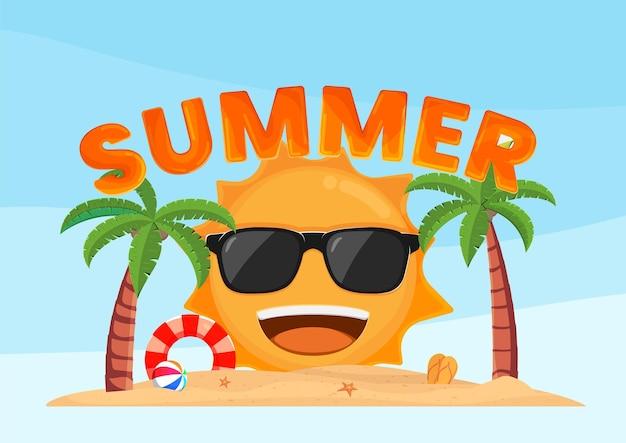열 대 해변 여름에 웃 고 행복 한 태양입니다. 여름 휴가 휴가 배경 디자인.