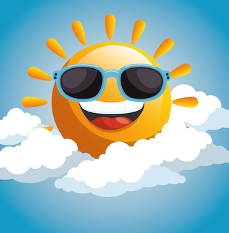 Happy sun with sunglasses and clouds