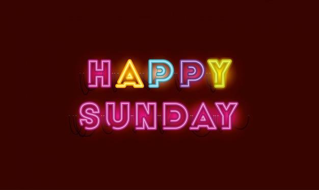 Happy sunday fonts neon lights