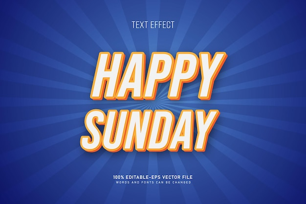 Happy sunday text effect blue background