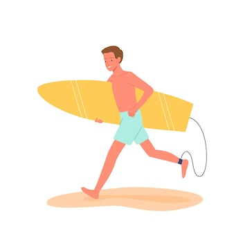 Happy surfer runs with surfboard on tropical beach vector illustration. cartoon surfing summer beach travel vacation scene with surfer man character running, holding surf board isolated on white
