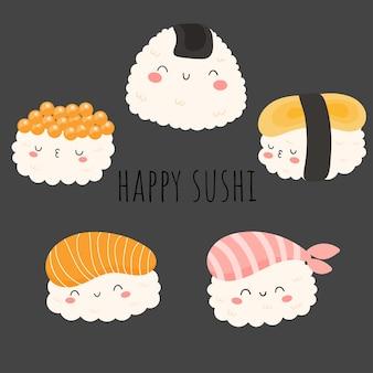 Happy sushi flat design element