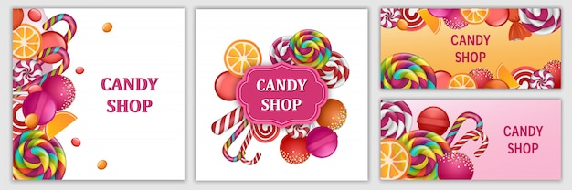 Happy sweet candy day banner set