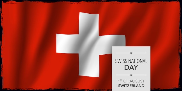 Happy swiss national day greeting card banner vector illustration