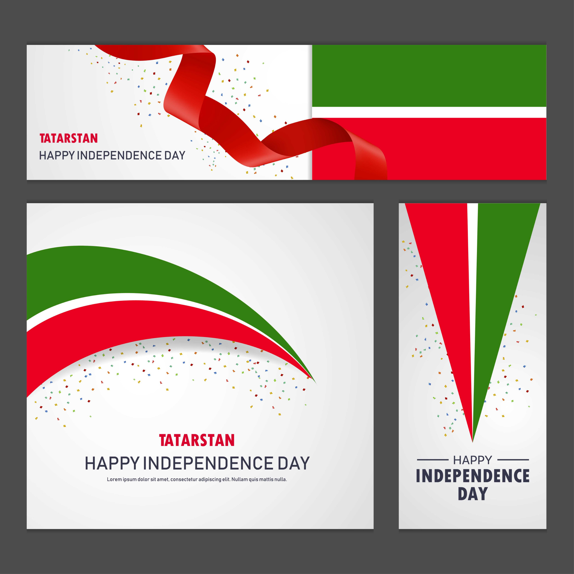 Happy Tatarstan independence day Banner and Background Set