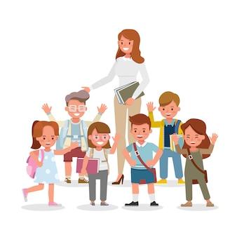 幸せな教師と学生のキャラクター。立ち、歩き、感情を込めた様々なアクションでのプレゼンテーション。