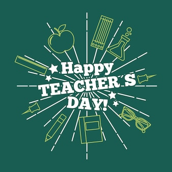 Happy teacher day card greeting green background