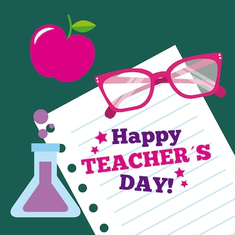 Happy teacher day card paper glasses apple and flask