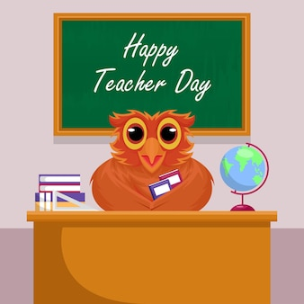 Happy teacher day concept with owl character