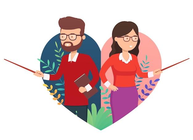 행복한 교사의 날, 학교 포스터 컨셉입니다. 교사 여자, 포인터와 손 제스처를 가진 남자. 학교 교육 구성 돌아가기.
