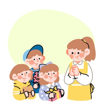 Happy teacher day students giving a gift present concept doodle illustration by arkana studio
