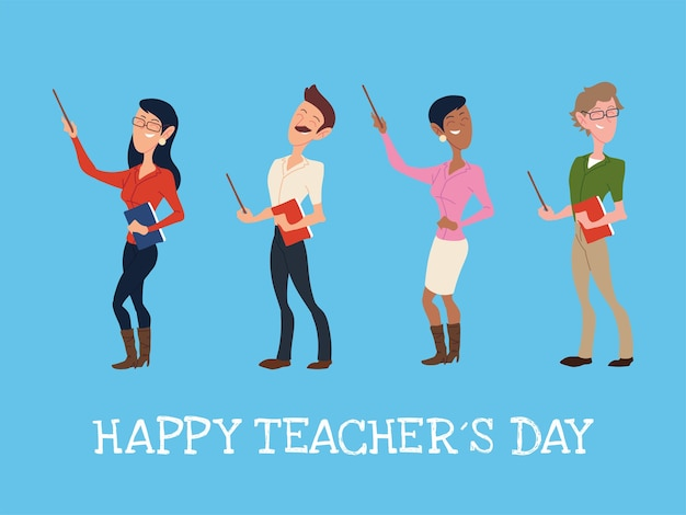 Happy teacher day with group of teachers design