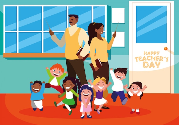 Happy teacher day with teachers and students in school