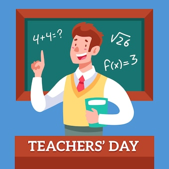 Happy teacher holding a book in front of chalkboard
