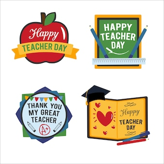 Happy teacher's day badges collection