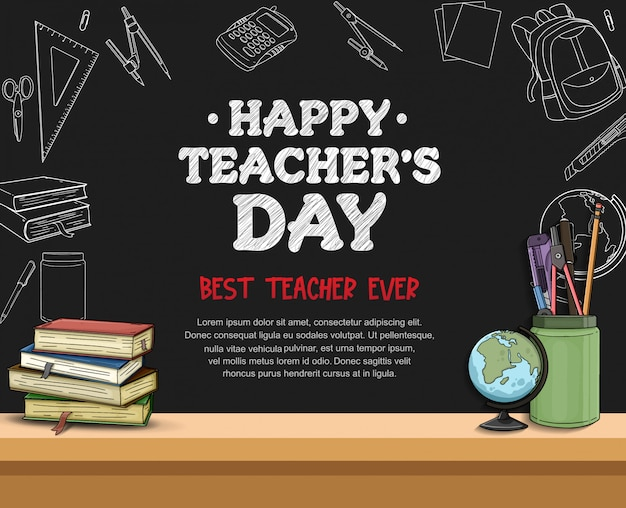Happy teacher's day banner template